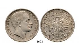 2608 Italy, Kingdom, Vittorio Emanuele III, 1900-1946, 2 Lire 1906-R, Rome, Silver