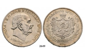 05.05.2013, Auction 2/ 2649. Montenegro, Nicholas I, 1860-1918, 5 Perpera 1914, Vienna, Silver