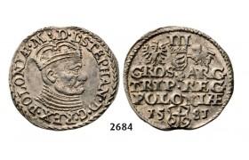 05.05.2013, Auction 2/2684. Poland, Stefan Bathory, 1575-1586, 3 Groschen (Trojak)1581, Olkusz, Silver