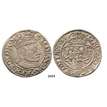 05.05.2013, Auction 2/ 2694. Poland, Stefan Bathory, 1575-1586, Groschen (Grosz) 1581, Olkusz, Silver