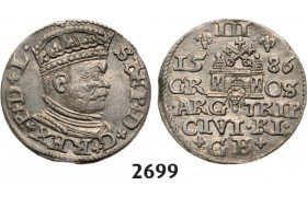 05.05.2013, Auction 2/ 2699. Poland, For Riga, 3 Groschen (Trojak) 1586, Riga, Silver