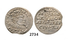 05.05.2013, Auction 2/ 2734. Poland, For Lithuania, 3 Groschen (Trojak) 1600, Riga, Silver
