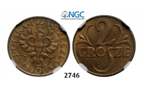 05.05.2013, Auction 2/ 2746. Poland, Second Republic of Poland, 1919-­1939, 2 Grosze 1923, Warsaw, Brass, NGC MS63