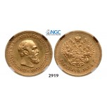 05.05.2013, Auction 2/2919. Russia, Alexander III, 1881-1894, 5 Roubles (Rubel) 1889 (АГ) St. Petersburg, GOLD, NGC AU58