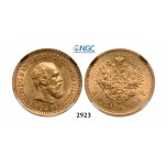 05.05.2013, Auction 2/2923. Russia, Alexander III, 1881-1894, 5 Roubles (Rubel) 1892 (АГ) St. Petersburg, GOLD, NGC MS63