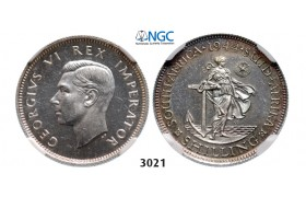 3021. South Africa, Union of South Africa, George VI, 1936-1952, Shilling 1944, Pretoria, Silver, NGC PF63