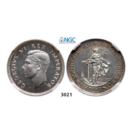 3021. South Africa, Union of South Africa, George VI, 1936-­1952, Shilling 1944, Pretoria, Silver, NGC PF63