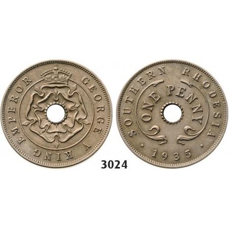 3024. Southern Rhodesia (Zimbabwe), George V, 1910-1936, Penny 1935, Copper-Nickel