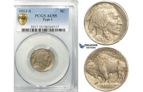 "R522, United States, Buffalo Nickel (5C.) 1913-S ""Type 1"" San Francisco,  PCGS AU55"