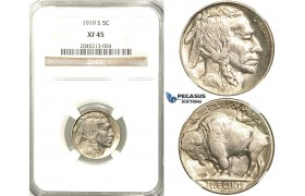 R523, United States, Buffalo Nickel (5C.) 1919-S, San Francisco,  NGC XF45