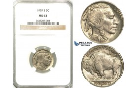 R525, United States, Buffalo Nickel (5C.) 1929-S, San Francisco,  NGC MS63