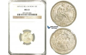 "R526, United States, Liberty Seated Dime (10C.) 1875-CC ""Below Bow"" Carson City, Silver, NGC MS63, Rare!"