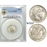 R528, United States, Barber Dime (10C.) 1908, Silver, PCGS MS63