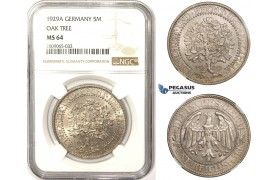 R809, Germany, Weimar, 5 Reichsmark (Oak Tree) 1929-A, Berlin, Silver, NGC MS64