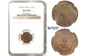 R812, India (British) Victoria, 1/12 Anna 1893 (C) Calcutta, NGC MS64RB
