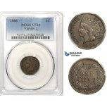 R831, United States, Indian Head Cent 1886, Variety 2, PCGS VF25