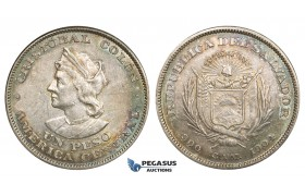 R834, El Salvador, Peso 1904, Silver, Toned AU (various marks/hairlines on Obv.)