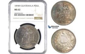 R836, Guatemala, Peso 1894-H, Heaton, Silver, NGC MS62 (Rainbow Obv)