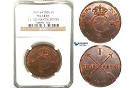 V78. Sweden, Carl XIV Johan, 1 Skilling 1819, Avesta, NGC MS64BN, ex. Lissner, SM 99
