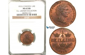 V79, Sweden, Carl XIV Johan, 1/4 Skilling 1833/2, Stockholm, NGC MS65RB (Pop 1/1, no finer) ex. Lissner, SM 134