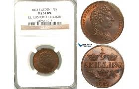 V80, Sweden, Carl XIV Johan, 1/2 Skilling 1832, Stockholm, NGC MS64BN, ex. Lissner, SM 131