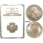 V82, Sweden, Carl XIV Johan, 1/8 Rigsdaler specie 1831 CB, Stockholm, Silver, NGC MS65 (Pop 1/1, Finest), ex. Lissner, SM 85