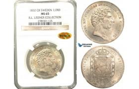 V83, Sweden, Carl XIV Johan, 1/2 Rigsdaler specie 1832 CB, Stockholm, Silver, NGC MS65 WINGS (Pop 1/1, Finest), ex. Lissner, SM 74