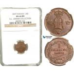 V84, Sweden, Oscar I, 1/6 Skilling banco 1849, Stockholm, NGC MS66BN (Pop 1/1, finest) ex. Lissner, SM 125