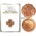 V85, Sweden, Oscar I, 1/3 Skilling banco 1852, Stockholm, NGC MS65RB (Pop 1/1, finest) ex. Lissner, SM 117