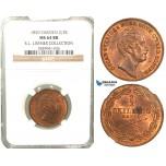 V86, Sweden, Oscar I, 2/3 Skilling banco 1850, Stockholm, NGC MS64RB (Pop 1/1, finest) ex. Lissner, SM 104