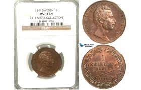 V87, Sweden, Oscar I, 1 Skilling banco 1844, Stockholm, NGC MS63BN (Pop 1/2) ex. Lissner, SM 88
