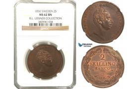 V88, Sweden, Oscar I, 2 Skilling banco 1850, Stockholm, NGC MS62BN (Pop 1/1, Finest) ex. Lissner, SM 82