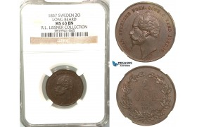 V91, Sweden, Oscar I, 2 Öre 1857 (Long beard) Stockholm, NGC MS63BN (Pop 1/1, Finest)  ex. Lissner, SM 135