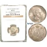 V93, Sweden, Oscar I, 50 Öre 1857 ST, Stockholm, Silver, NGC MS65 (Pop 1/1, Finest)  ex. Lissner, SM 61 (Rare so nice!)