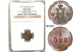 V96, Sweden, Carl XV, 1/2 Öre 1867 (Large date) Stockholm, NGC MS67BN (Pop 1/1, No finer!) ex. Lissner, SM 81A