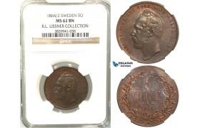 V97, Sweden, Carl XV, 5 Öre 1864/2, Stockholm, NGC MS62BN (Pop 1/1, No finer!) ex. Lissner, SM 55