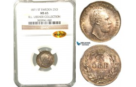 V98, Sweden, Carl XV, 25 Öre 1871 ST, Stockholm, Silver, NGC MS65 WINGS (Pop 2/1) ex. Lissner, SM 41