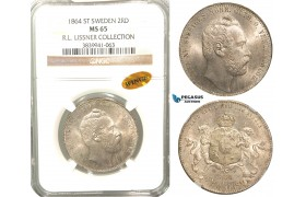 W01, Sweden, Carl XV, 2 Rd. Riksm. 1864/2 ST, Stockholm, Silver, NGC MS65 WINGS (Pop 1/1, Finest!) ex. Lissner, SM 26