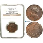 W03, Sweden, Oscar II, 2 Öre 1873, Stockholm, NGC MS63BN (Pop 1/1, No finer!) ex. Lissner, SM 133