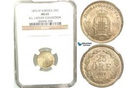 W04, Sweden, Oscar II, 25 Öre 1876 ST, Stockholm, Silver, NGC MS65 (Pop 1/1, No finer!) ex. Lissner, SM 93