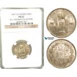 W05, Sweden, Oscar II, 50 Öre 1899 EB, Stockholm, Silver, NGC MS62, ex. Lissner, SM 88