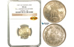 W06, Sweden, Oscar II, 50 Öre 1907 EB, Stockholm, Silver, NGC MS66 WINGS, ex. Lissner, SM 90