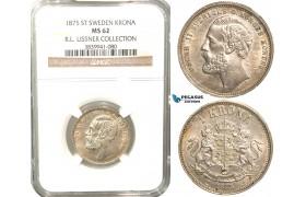 W07, Sweden, Oscar II, 1 Krona 1875 ST, Stockholm, Silver, NGC MS62 , ex. Lissner, SM 62