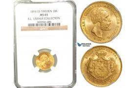 W09, Sweden, Oscar II, 10 Kronor 1894 EB, Stockholm, Gold, NGC MS65 , ex. Lissner, SM 31