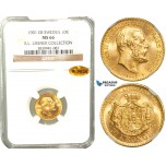 W10, Sweden, Oscar II, 10 Kronor 1901 EB, Stockholm, Gold, NGC MS66 WINGS , ex. Lissner, SM 33
