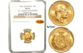 W10, Sweden, Oscar II, 10 Kronor 1901 EB, Stockholm, Gold, NGC MS66 WINGS , ex. Lissner, SM 33