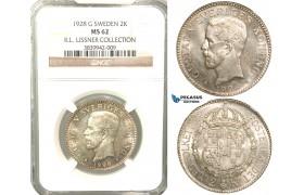 W12, Sweden, Gustaf V, 2 Kronor 1928 G, Stockholm, Silver, NGC MS62, ex. Lissner, SM 13