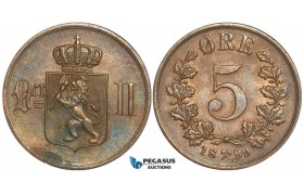 W74, Norway, Oscar II, 5 Øre 1899, Kongsberg, High Grade (Minor light corrosion spot)