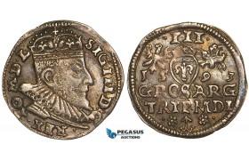 W81, Lithuania, Sigismund III of Poland, 3 Groschen (Trojak) 1593, Vilnius, Silver (2.38g) Toned XF+