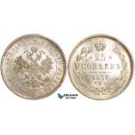 W84, Russia, Alexander II, 25 Kopeks 1878 СПБ-НФ, St. Petersburg, Silver, UNC (Minor scratch)
